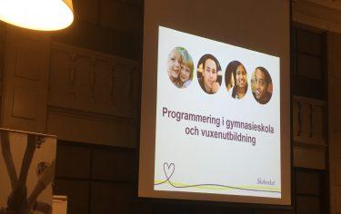 Projicerad presentation från Skolverket på duk.