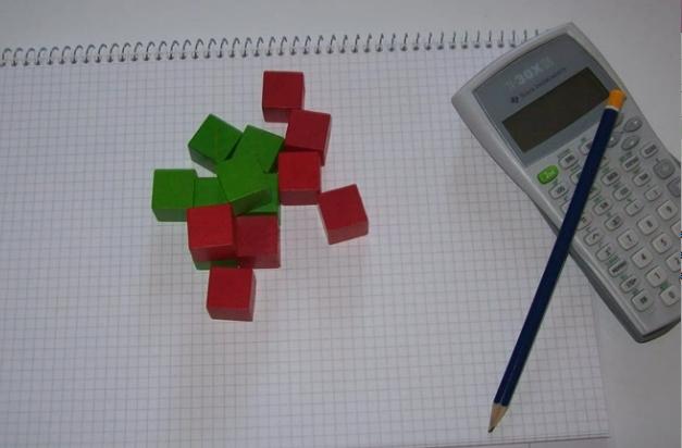 Kvadrater, block och miniräknare.