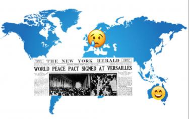 Världskarta med tidningsuppslag över.
