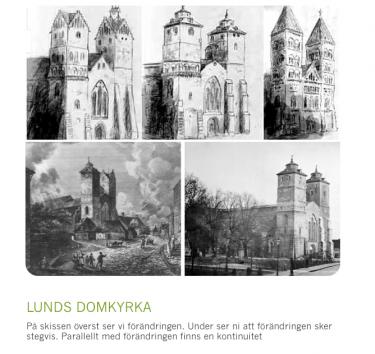 Tre teckningar av Lunds domkyrka.