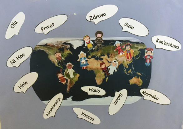 Världskarta och pratbubblor där det står hej på olika språk.