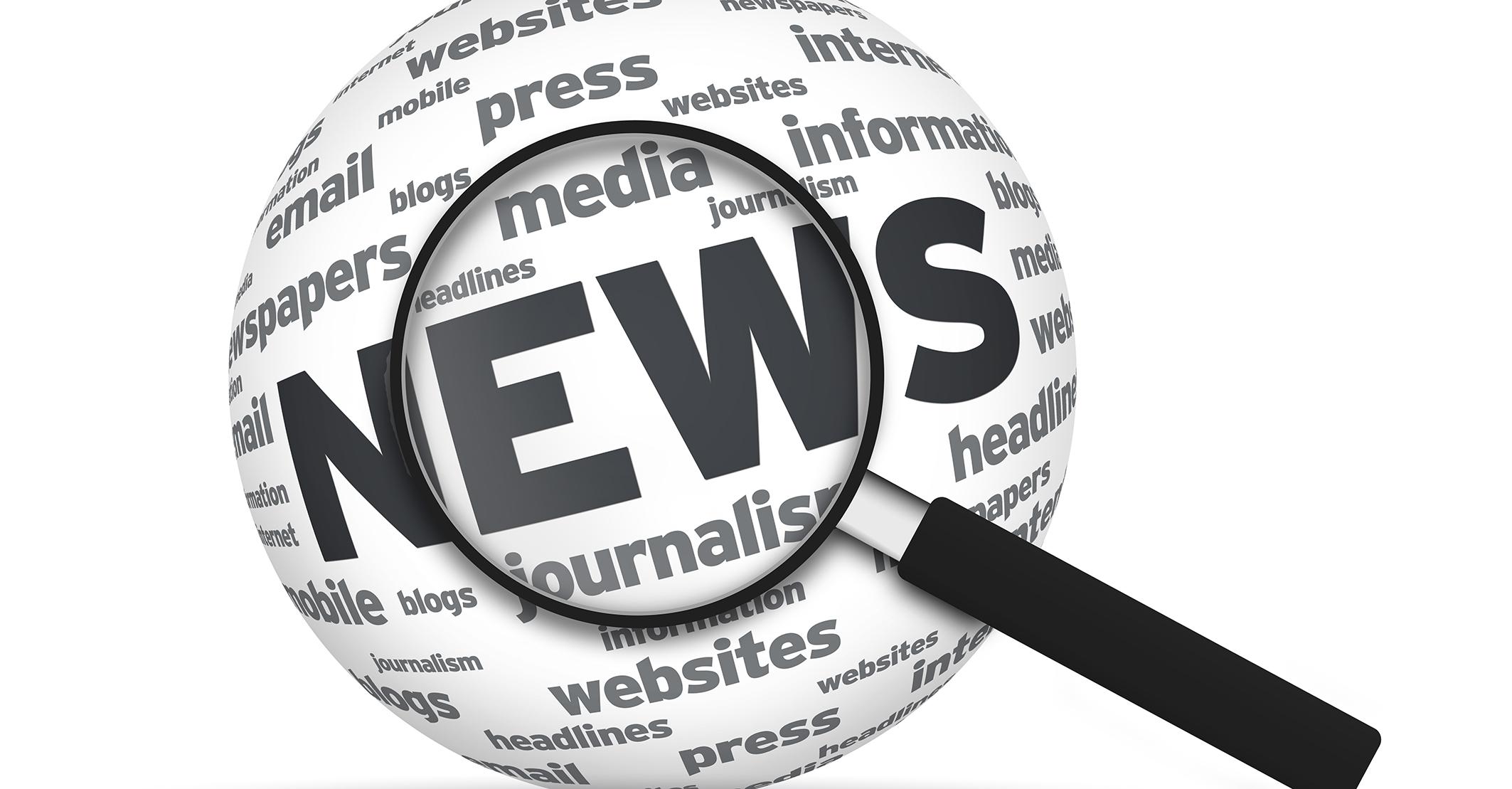 Förstoringsglas som zoomar in på news.