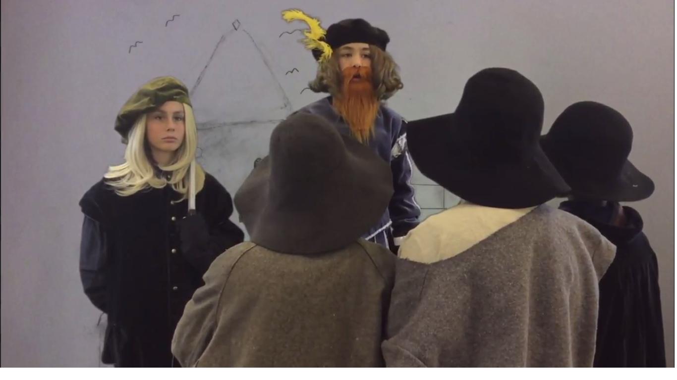 Elever utklädda till Gustav Vasa och bönder.