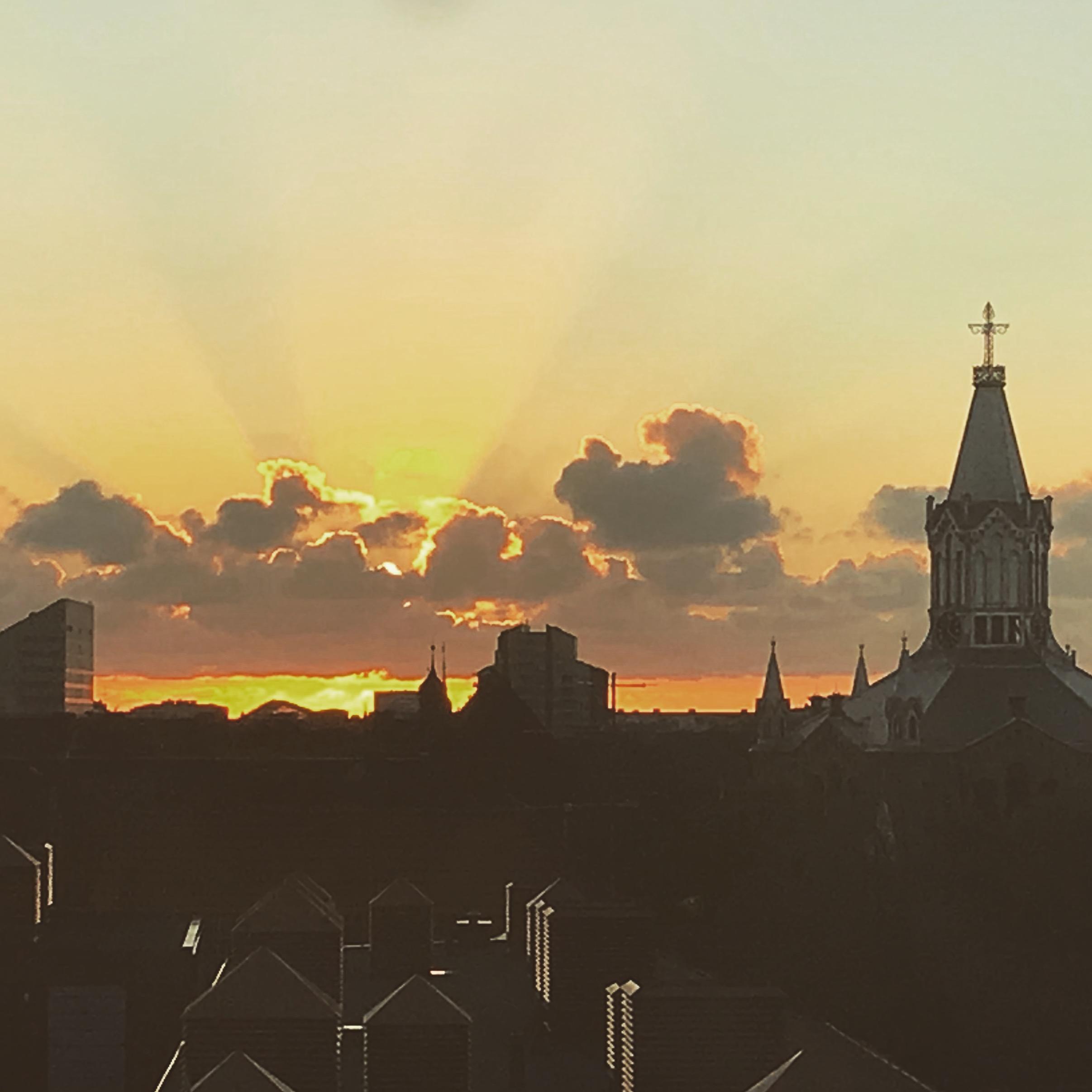Solnedgång över Malmö.