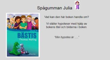 Skärmbild med spågumman Julia.