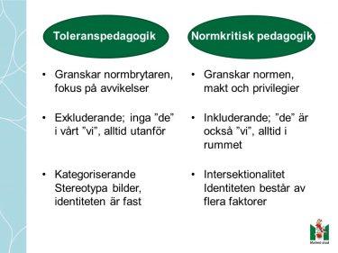 Lista med skillnad mellan toleranspedagogik och normkritisk pedagogik.