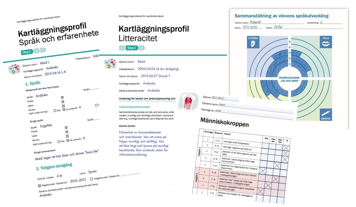 Avbild av olika dokument för kartläggning.