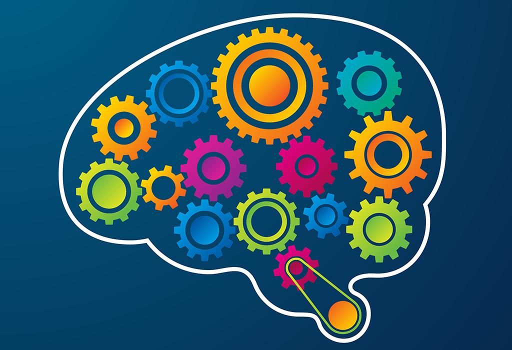 Tecknad hjärna med kugghjul i.