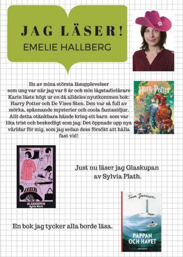 Affisch med text av Emelie Hallberg.
