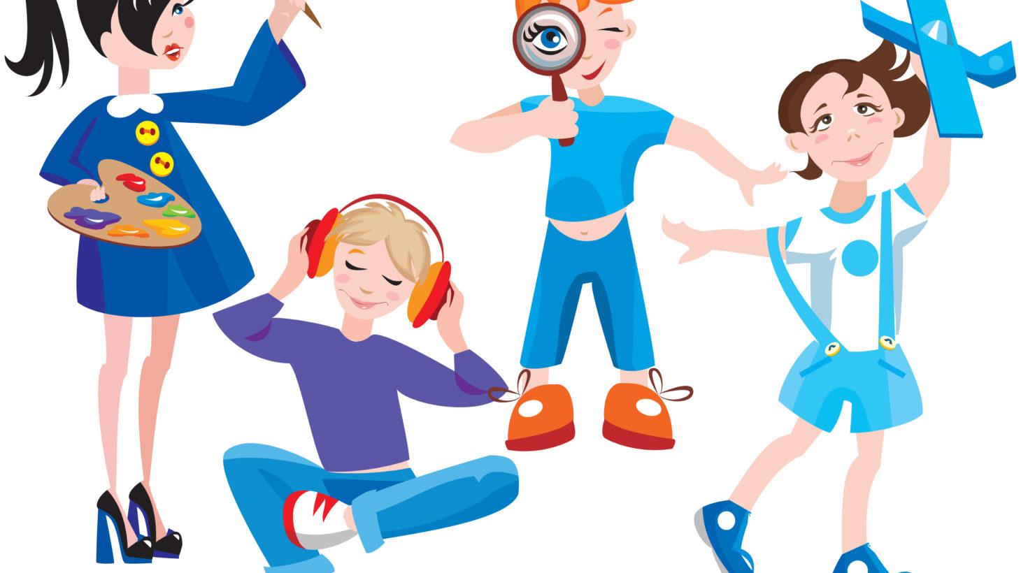 Tecknade ungdomar ägnar sig åt fritidssysslor.