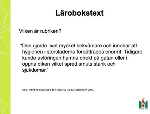 Bild ur presentation om lärobokstext.