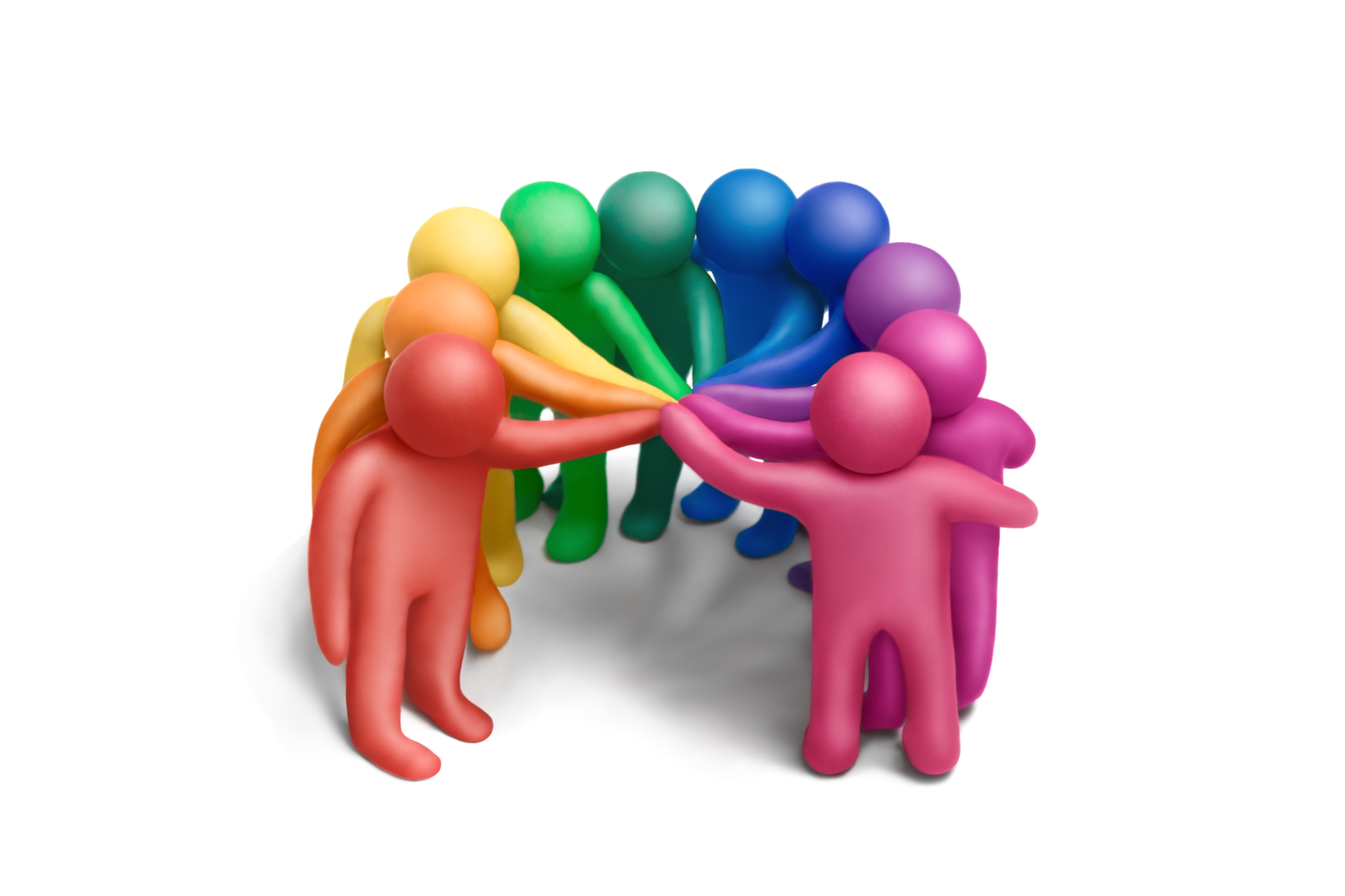 Flerfärgade 3D-karaktärer håller in händerna i mitten.