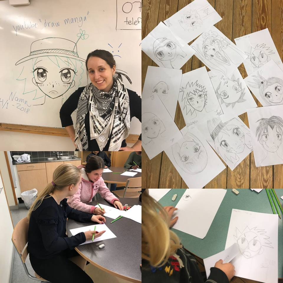 Natalia Batista lär barnen rita manga.