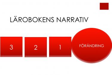 Röda block med siffror och en cirkel där det står förändring.