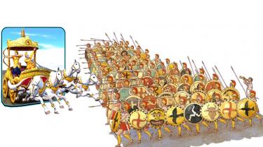 Romerska legionärer står i trupp.