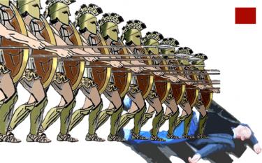 Romerska soldater trampar på.