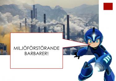 Superhjälte framför rykande fabriksskorstenar.