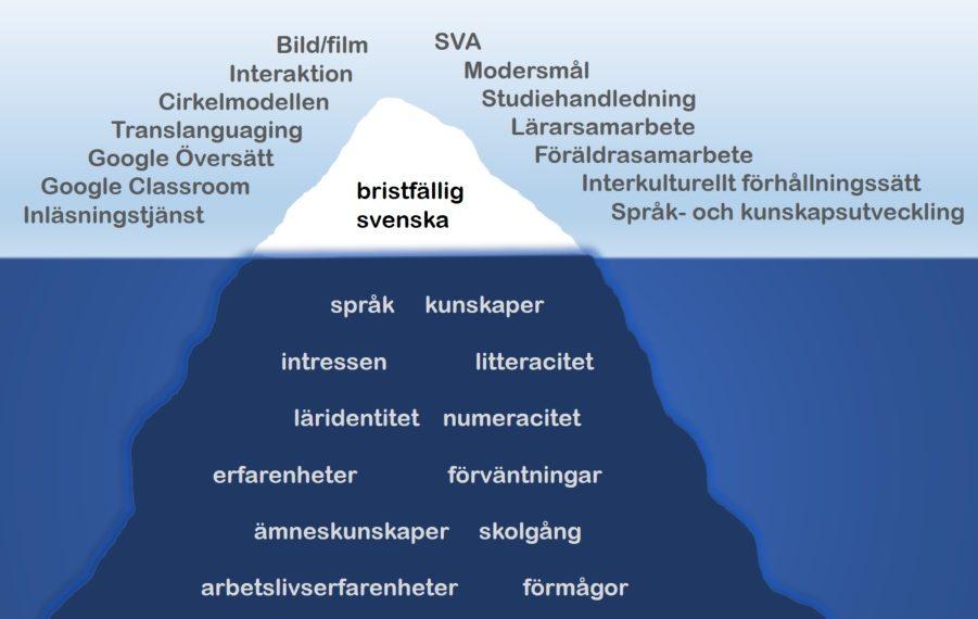 Isberg som symboliserar ett interkulturellt förhållningssätt i mötet med nyanlända elever.