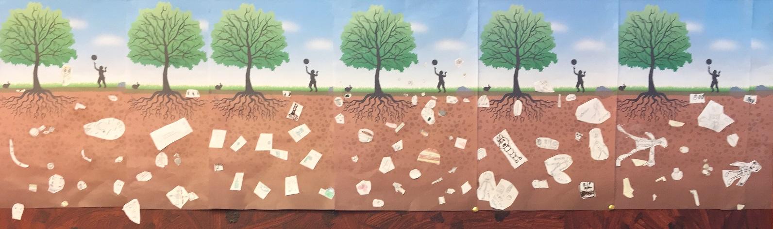 Genomskärning av jord och vad som finns under ytan.