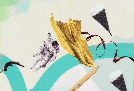 Illustration med astronaut och en penna med mantel.