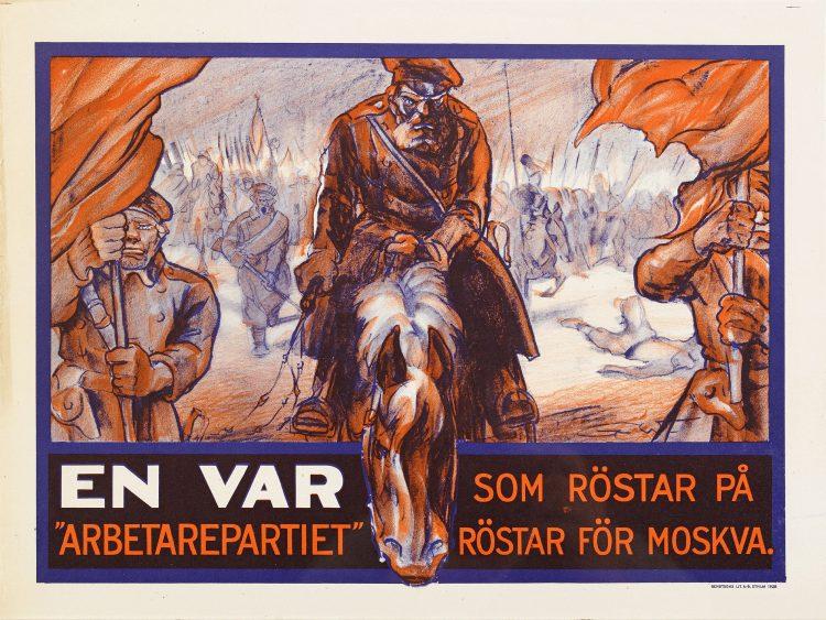 Affisch från Kosackvalet som visar man till häst.