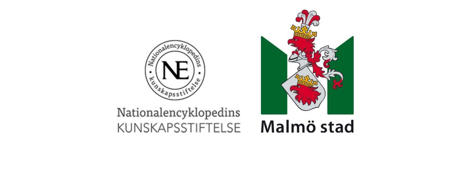 NE och Malmö stads logotyper.