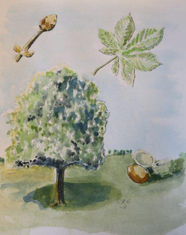 Akvarellmålning av träd.