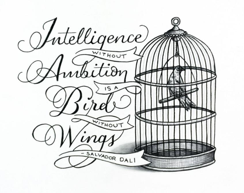 Skiss över fågel i bur.