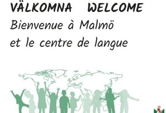 Inbjudan till språkcenter står på en skylt,