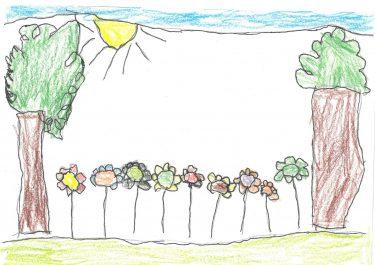 En teckning på träd och blommor.