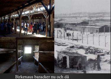 Birkenaus baracker nu och då.