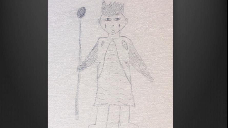 Teckning av prins om gråter.