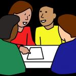 Fyra tecknade personer samtalar.