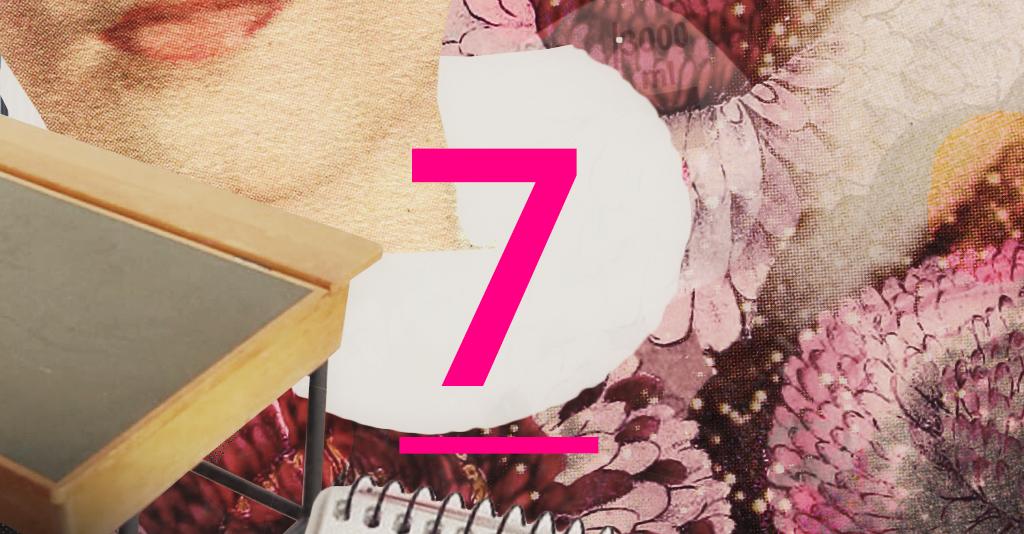 Illustration där siffran sju står.