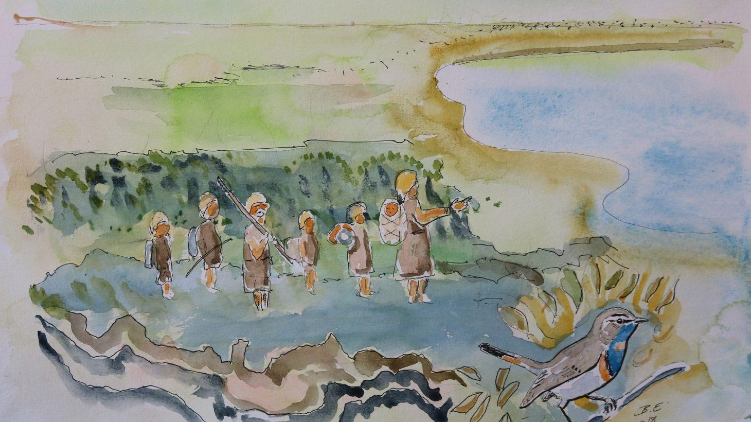Akvarellmålning av stenåldersjägare.