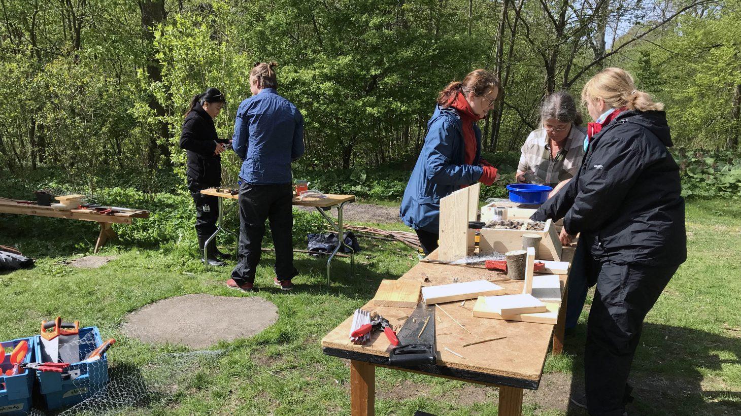 Fem personer bygger fågelholkar utomhus.