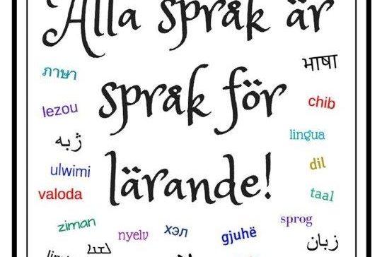 Skylt där det står ordet språk på olika språk.