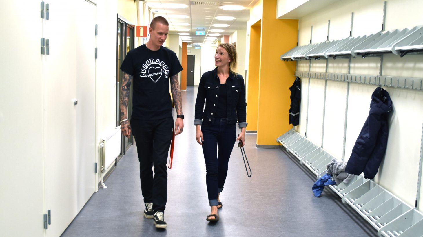 Daniel Franzén, fritidspedagog och projektledare, och Heidi Uddeskog, projektledare och musiklärare på Lorensborgsskolan.