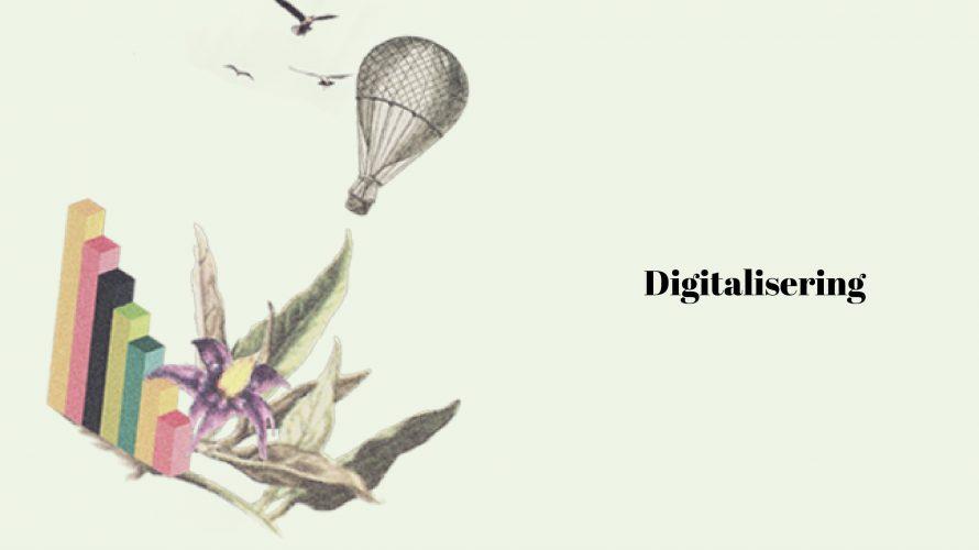 Illustration där det står digitalisering.