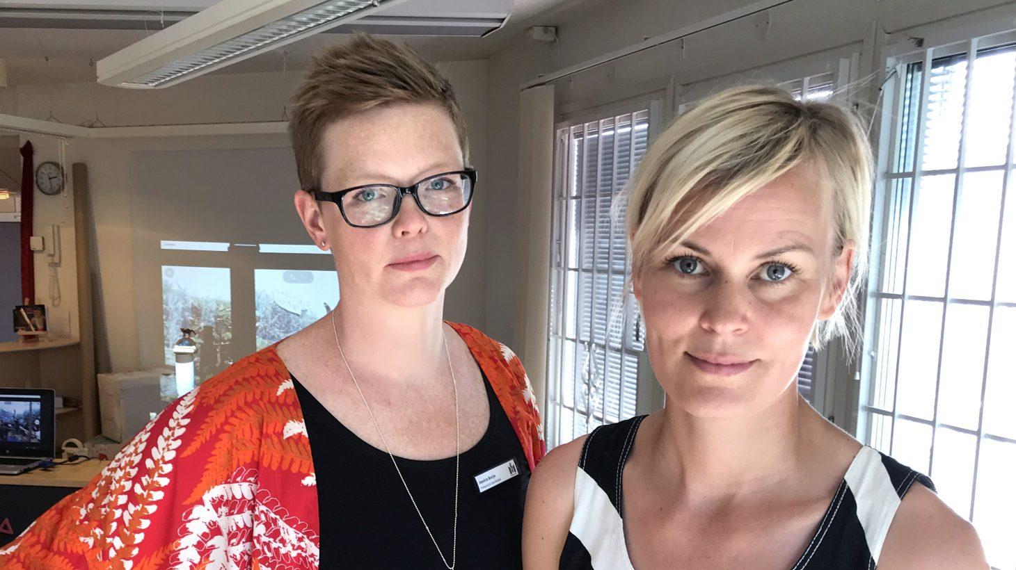Jessica Borjo, teamledare i Pedagogiska utvecklingsteamet i område Väster, och Jenny Leyman, utvecklingspedagog i utbildningsområde Väster.