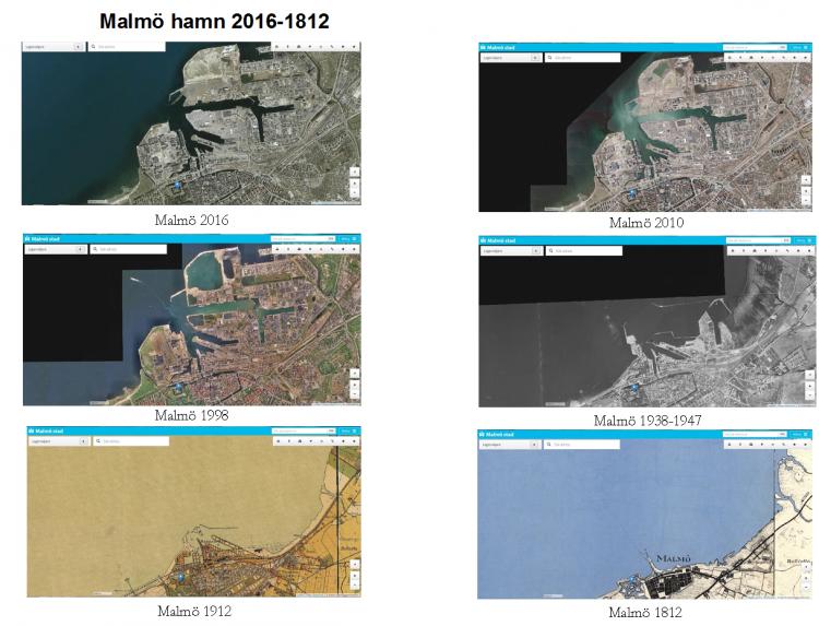 Kartbilder över Malmös hamn från 1812 till 2016.