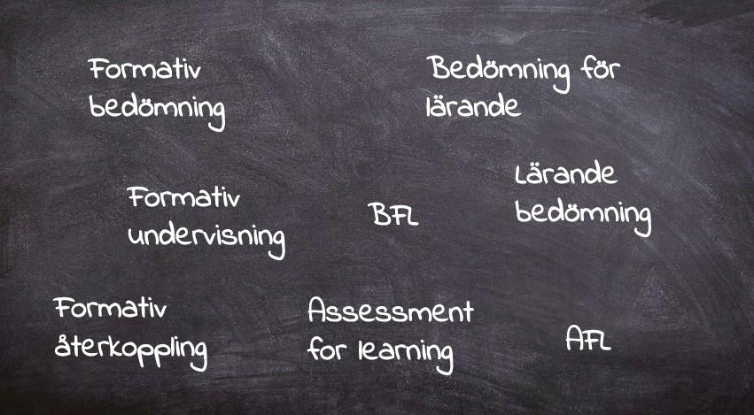 Svart tavla med olika begrepp inom bedömning för lärande.