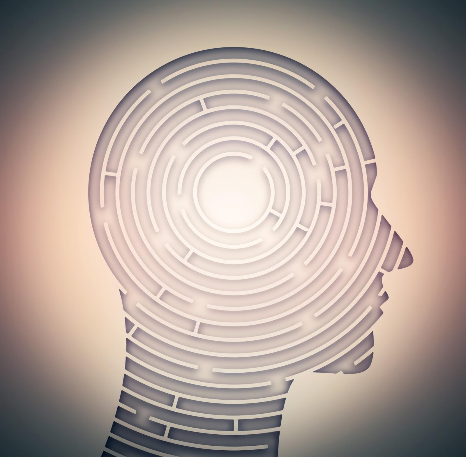 Illustration där ett människohuvud i profil är som en labyrint.