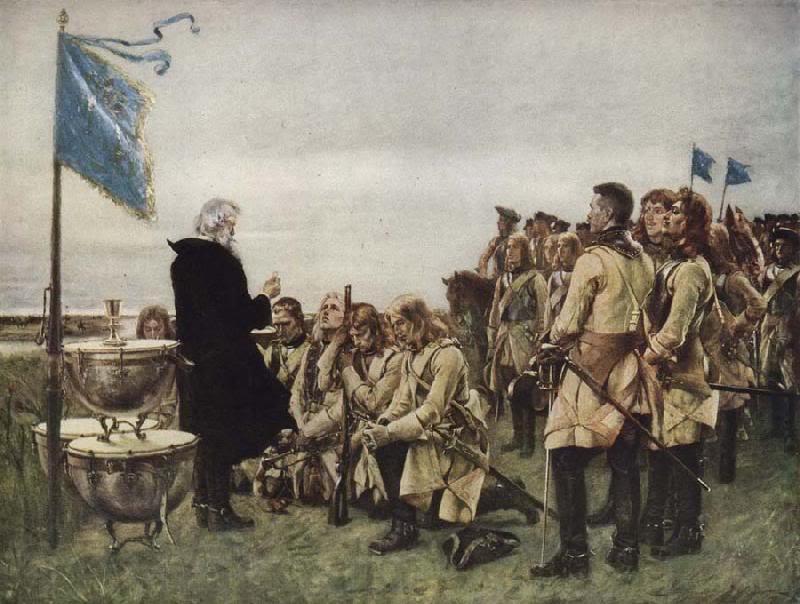 Konstverk med svenska soldater.