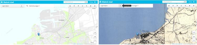 Kartvy över hur Malmö har utvecklats.