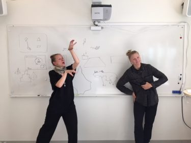 Två pedagoger dansar i klassrum.