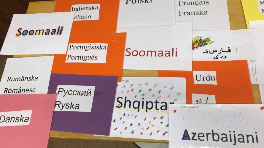 Skyltar med olika språk.