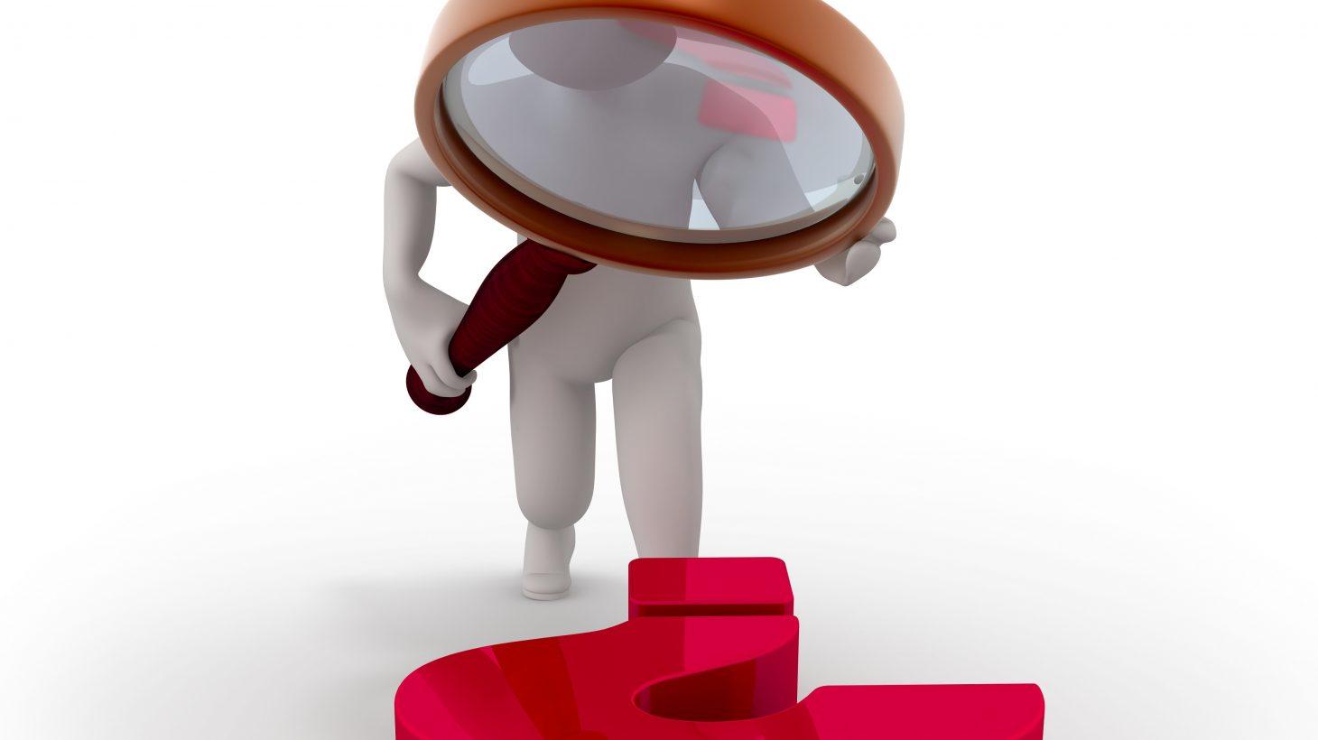 3D-tecknad människa tittar på frågetecken med förstoringsglas.