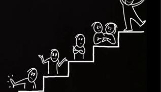 Trappa med tecknade gubbar på varje trappsteg.