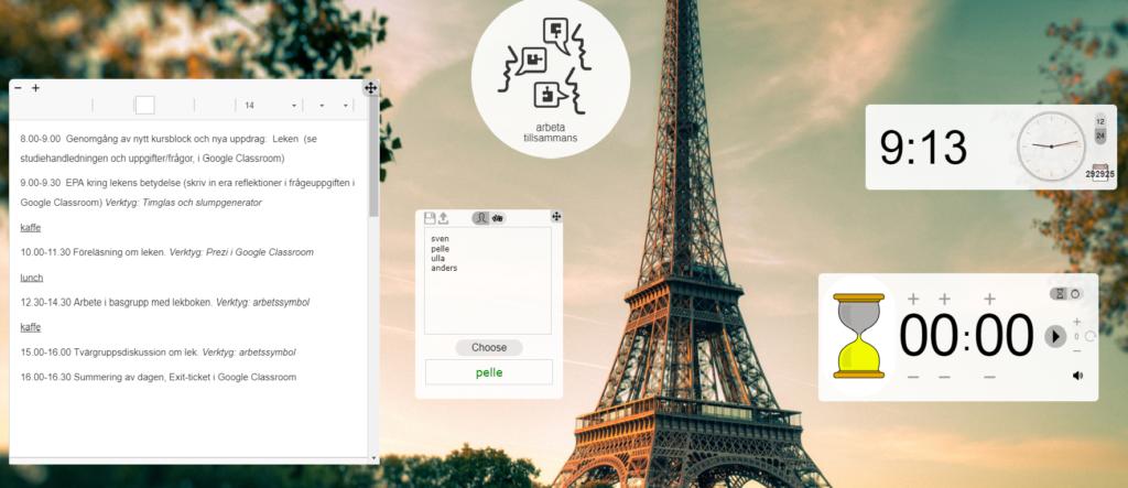 Skärmavbild från Classroom screen med arbetsplanering.